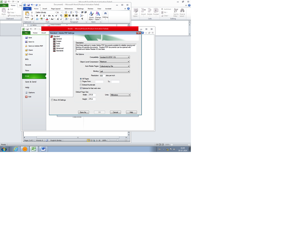 word document activation failed